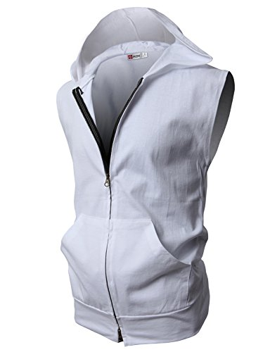 H2H Men's Casual Hooded Sleeveless Tank Tops Cotton Sleeveless T-shirts WHITE Asia XXXL (JPSK13_N25) by H2H