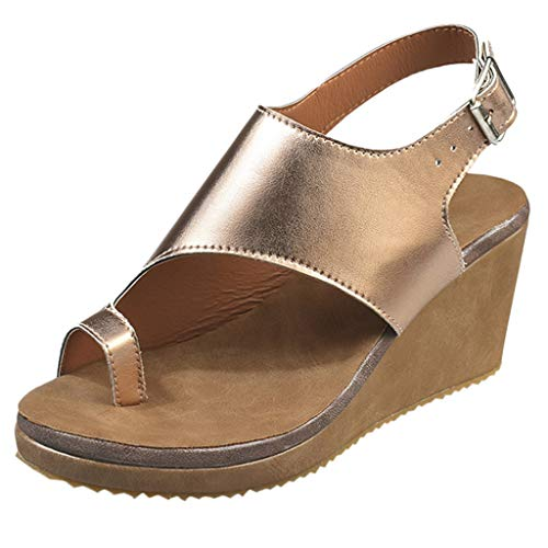 MmNote Women Shoes, Women's Rumblers Wedge Sandal Low Wedge Breathable Outdoor Bold Buckles Universal Adjustable Sandal Gold]()