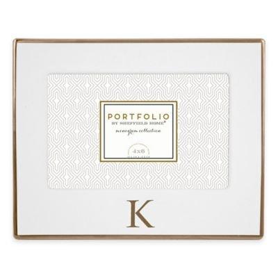 Portfolio by Sheffield Home 4-Inch x 6-Inch Monogram Letter Ceramic Frame in White/Gold (K)