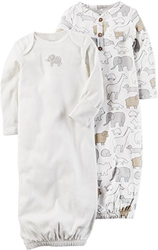 Carters Unisex Baby 2-Pack Gown Elephant Print, Gray, 3M