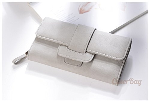 [CaserBay] Fashion Women's Elegant Lady Concise Buckle Pocket Long Bifold Frosted Leather Wallet Card Purse (Gray)