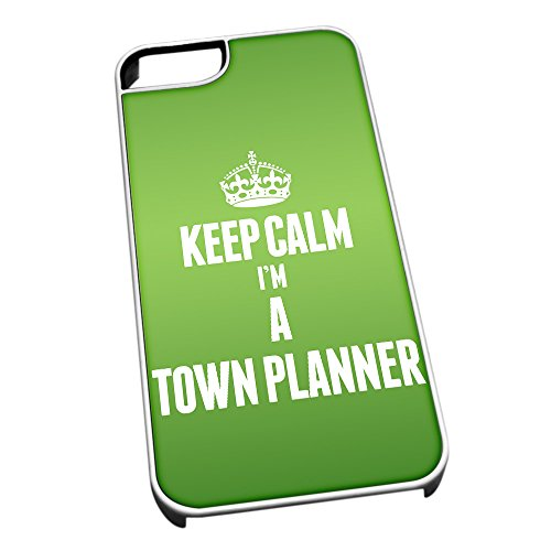 Bianco cover per iPhone 5/5S 2694 verde Keep Calm I m A Town planner
