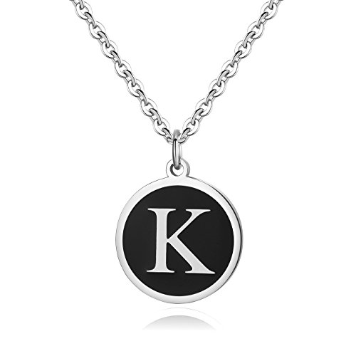 REVEMCN Stainless Steel Alphabet and Bible Verse Proverbs 4:23 Pendant Necklace for Men Women with Keyring and 22'' Chain (Silver-Tone: K) ()