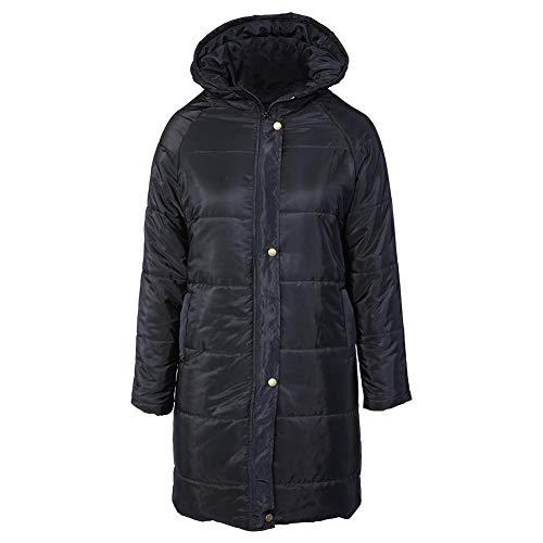 GLOGLOW Abrigo de Mujer, Abrigo Largo de Invierno Chaqueta de Abajo con Capucha, Abrigo cálido para Exteriores en Negro(S)