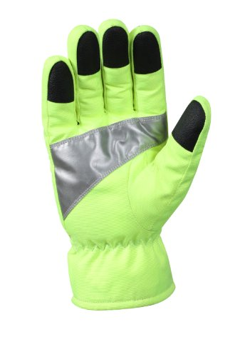 (Rothco Safety Green Gloves with Reflective Tape, Large)