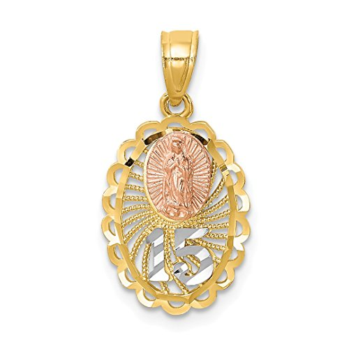 14k Two Tone Yellow Gold 15 Guadalupe Pendant Charm Necklace Religious Medal Our Lady Of Fine Jewelry For Women Gift Set