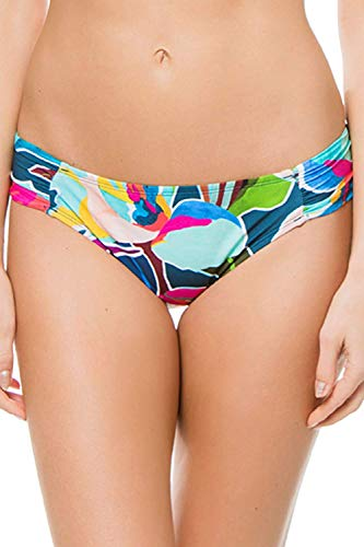 La Blanca Women's Side Shirred Hipster Bikini Swimsuit Bottom, go with The flo/Royal, 6