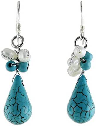 NOVICA Blue Cluster Earrings with Cultured Freshwater Pearls and Sterling Silver Hooks 'Tropic Blue'
