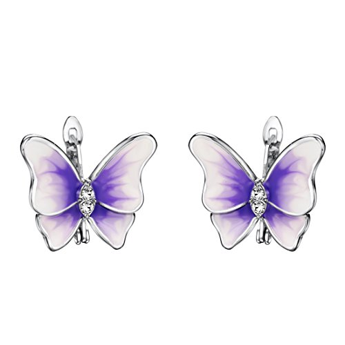 Neoglory Jewelry Purple Enamel Butterfly Hook Earrings Crystal Women Jewelry Mother's Day Gift embellished with Crystals from Swarovski (Ring Embellished Butterfly)