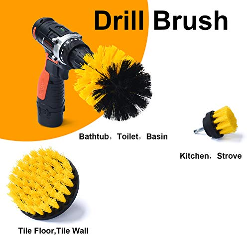 Glotoch Express Drill Brush 3 pack kit Medium- Yellow All purpose Cleaner Scrubbing Brushes for Bathroom, surface, Grout, Tub, Marble, Shower, Kitchen, Auto, Boat(Drill NOT Included)