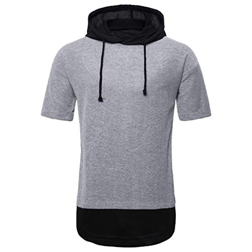 (Men's Hooded Striped Splice Shirt -Casual Sport Lapel Short Sleeve Pure Color Shirt,Sunsee 2019 Must Have Gray)