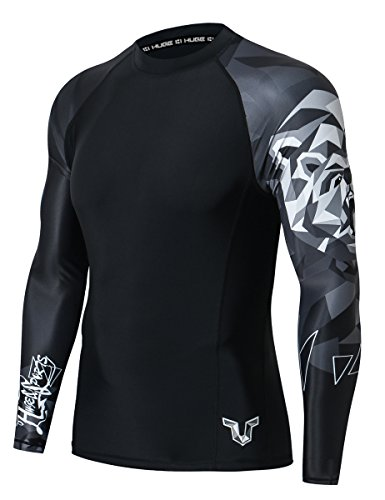 HUGE SPORTS Wildling Series UV Protection Quick Dry Compression Rash Guard (Bear,L)