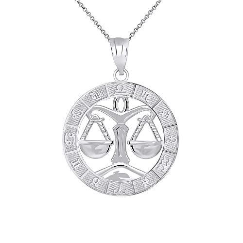 Libra Zodiac (CaliRoseJewelry Sterling Silver Libra Zodiac Pendant Necklace, 16