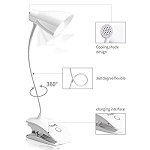 LED Clip on Light, OCOOPA Battery Operated Reading Lamp, USB Rechargeable Book Light, Dimmable Touch Bedside Lamp, Portable Desk Lamp with Good Eye Protection.