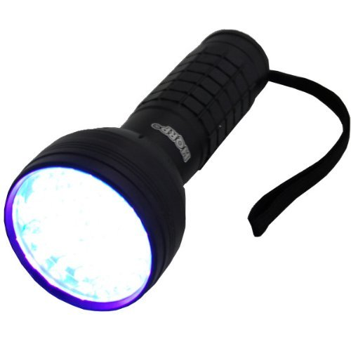 HQRP Professional 76 LED ultraviolet Flashlight with a Large Coverage Area and UV Protecting Safety Glasses with Clear Lens for arson investigation with 390 nM wavelenght plus HQRP UV Meter