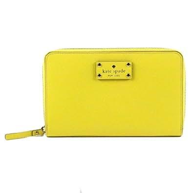 Kate Spade Wellesley Travel Texture Leather Zip Around Wallet Prime Yellow