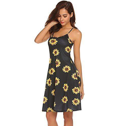 Ajustable Manches Femme Robe S Optionnel Robe d't tournesol Fleurs Sans Bretelles Fenteer pour XL s Couleur R04xzwqz