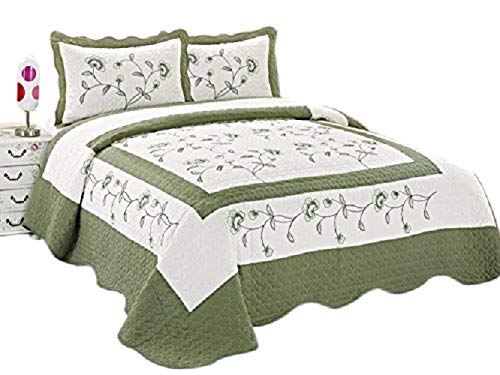 (OctoRose 3pc Nice Design 102x94 Beige/Sage Green Fully Quilted Embroidery Bedspread Coverlets Bed Cover Pillow Sham Set (Beige/SageGreen))