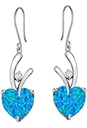 Star K Hanging Hook Earrings with Heart Shape Stones