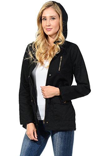 Auliné Collection Womens Military Safari Utility Fashion Hoodie Anorak Jacket Fur Black 2XL