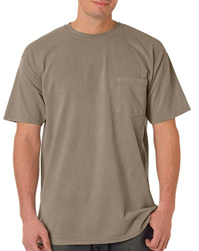 Cotton Heavyweight 100% Tee (Comfort Colors Chouinard 6030 Adult Heavyweight Pocket Tee Khaki PgmDye XX-Large)
