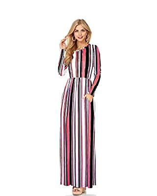 HyBrid & Company H&C Women Long Sleeve Loose Plain Maxi Dress Casual Long Dresses With Pockets