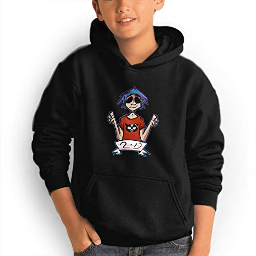 Quxueyuannan Black Hoodie, Hello Kinky Gorillaz Casual Cotton Keep WarmZip Hoodie Sweater with Pocket for Bpys Kids Girls