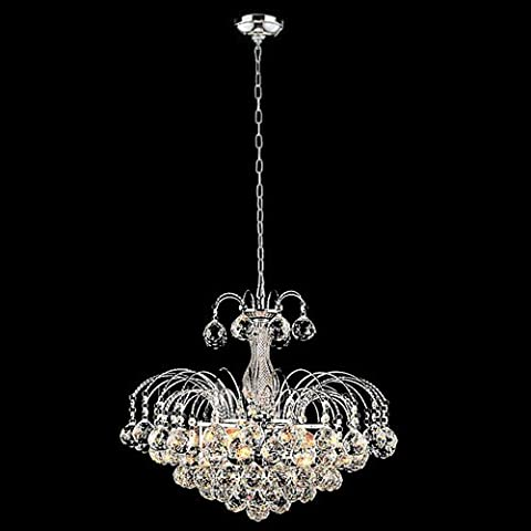 Diamond Life 3-Light Chrome Finish European-Style Crystal Chandelier with Crystal Balls Pendant Hanging Ceiling Light Fixture, Bulbs - Diamond Style Light