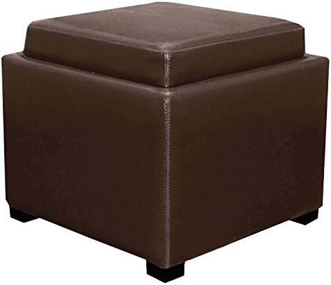 New Pacific Direct Cameron Square Leather Storage Ottoman Furniture
