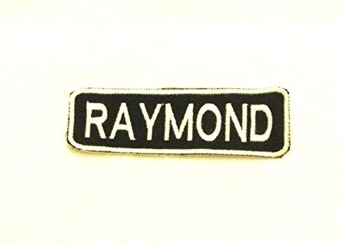 raymond-white-on-black-iron-on-name-badge-patch-for-biker-vest-nb246