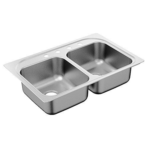 Moen G202134 2000 Series 20 Gauge Double Bowl Drop In Sink, Stainless Steel