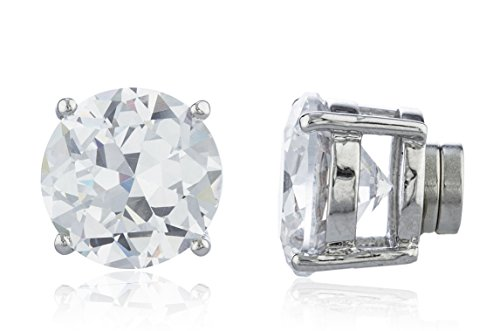 Silvertone Magnetic Earrings with Clear Cz Round - 4mm to 12mm (12 Millimeters) (E-1529 (FBA) ()