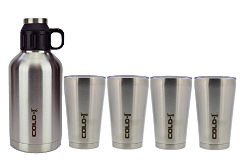 reduce COLD-1 Stainless Steel Insulated 64oz Growler (Silver) and 4 Pack COLD-1 Stainless Steel 16oz Tumbler (Oversized Mug Steel Stainless)