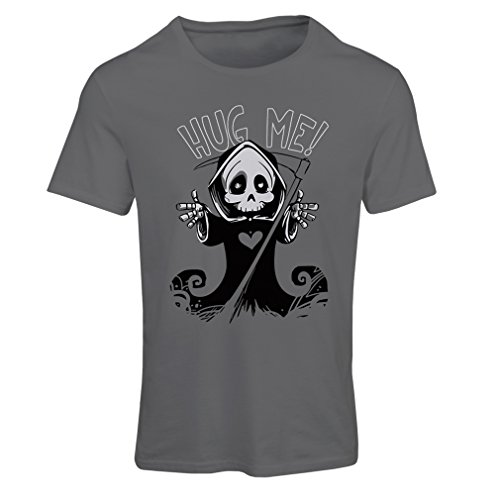 T Shirts for Women The Death is Coming! Halloween Skeleton Clothes, Evil Skull Sickle (Small Graphite Multi -