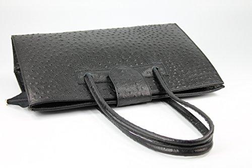 Belli - Bolso de asas de cuero para mujer negro negro 40 x 30 x 10