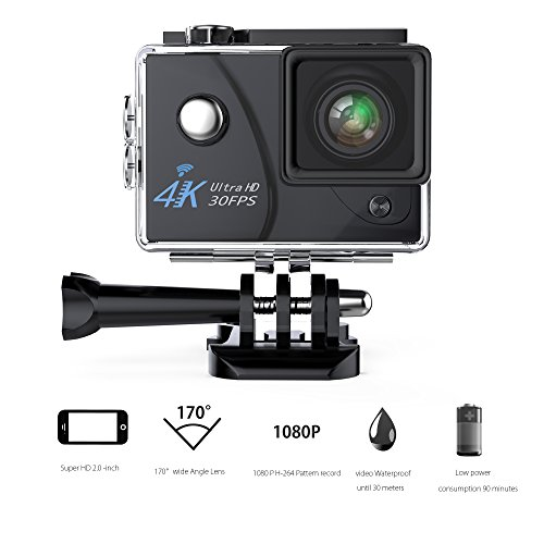 Action Camera ,VMTOP 16MP 4K Wi-Fi 30FPS 64 G TF card Ultra HD Waterproof Sports Cam 170°Wide-angle Lens Sport Camera DV Camcorder With 7 Accessory (Black) VMTOP