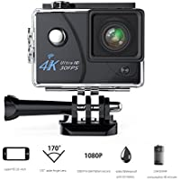 Action Camera ,VMTOP 16MP 4K Wi-Fi 30FPS 64 G TF card Ultra HD Waterproof Sports Cam 170°Wide-angle Lens Sport Camera DV Camcorder With 7 Accessory (Black)