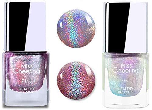 2 PACK Holographic Nail Polish,2021 Irridescent Nail Polish Gorgeous Glossy,Holographic Halo Glitter Polish Nail Art Nail Pigment Diamond Laser Nail Polish,Nail Polish Teen (5#)