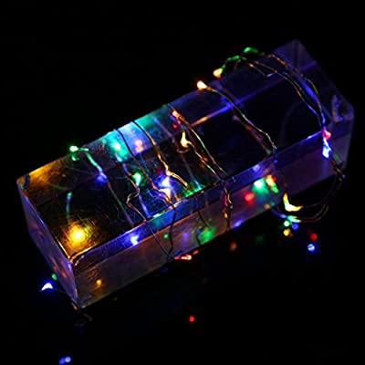 Botrong 2M 20LED Button Cell Powered Silver Copper Wire Mini Fairy String Lights for Weddings, Tree, Party, Bedroom, Xmas