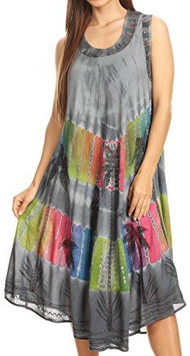 (Sakkas 101RC Palm Tree Tie Dye Caftan Dress/Cover Up - Grey - One Size)
