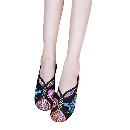 Women's Flats Shoes Sole Embroidery Oxfords BUYITNOW Black Embroidered Chinese SInPZwSxdq