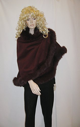 CAPE,CASHMERE CAPE WITH FOX FUR TRIMMING from Cashmere Pashmina Group (BORDEAUX)