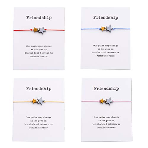 (Pipitree 4Pcs Braided Wish Bracelet Gift Card Friendship Jewelry Charm Bracelet,Multicolor Star)