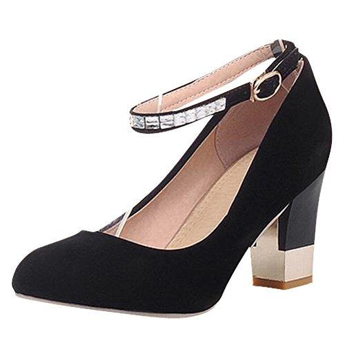 Carol Shoes Elegance Womens Rhinestone Buckle Ankle-strap Fashion Chunky High Heel Mary Jane Shoes Black pR8fppQ3