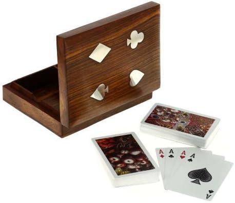 Shalinindia Caja Naipes Doble Caja De Madera Juegos Tablero ...