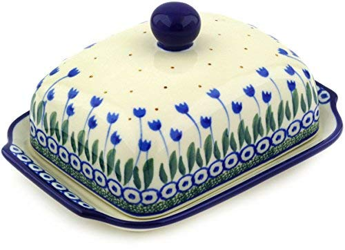 Polish Pottery 6¾-inch Butter Dish made by Ceramika Artystyczna (Water Tulip Theme) + Certificate of Authenticity