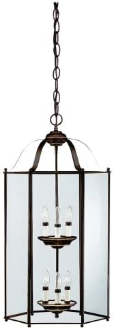 Sea Gull Lighting 5233-782 6-Light Hall and Foyer Fixture, Clear Glass Panels and Heirloom Bronze