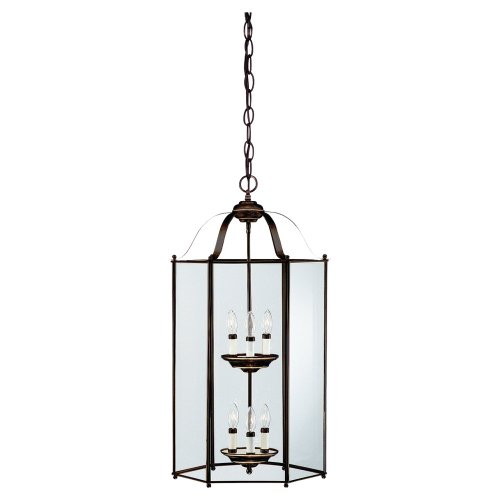 Sea Gull Lighting 5233-782 6-Light Hall and Foyer Fixture, Clear Glass Panels and Heirloom Bronze (Bretton Pendant Lighting)