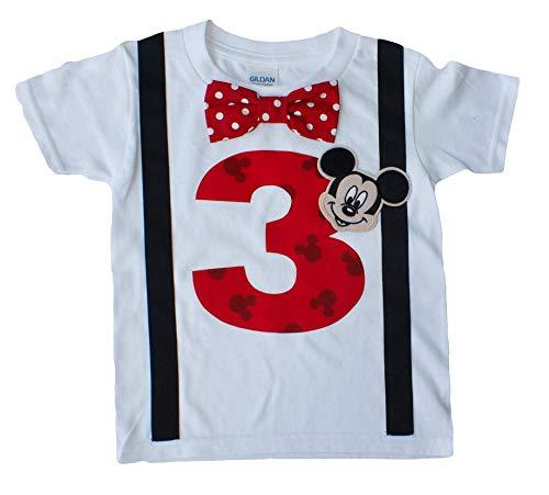 3rd Birthday Shirt Boys Mickey Mouse Tee (4T Long Sleeve, Red Dot)