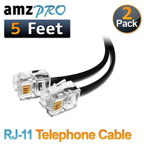 (2 Pack) 5 Feet Black Telephone Cable RJ11 Male to Male 60 inch Phone Line Cord